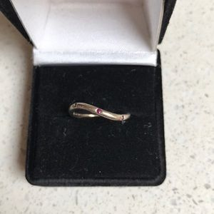 Dainty wave ring tiny ruby